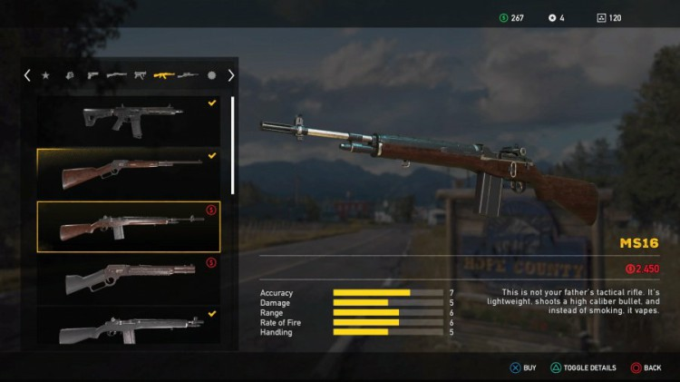 Far Cry 5 Weapons List - Unlockable Rifles - MS16