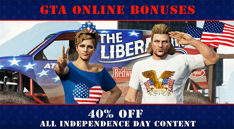 GTA Online: Celebrate with Independence Day Specials, The Return of the Patriot Beer Hat and More