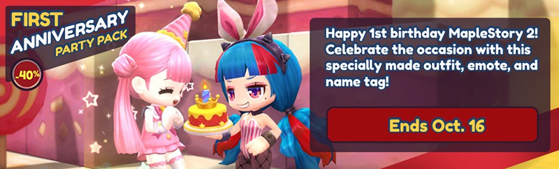 Celebrate a year of MapleStory 2 with this birthday themed-pack